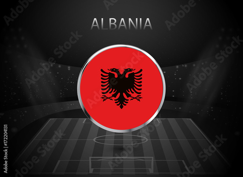 Eps 10 Vector Albania Flag Button Isolated On Black And White Stadium Background Albanian National