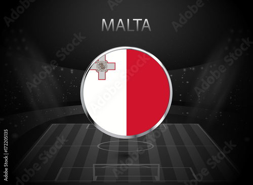 Eps 10 Vector Malta Flag Button Isolated On Black And White Stadium Background Maltese National