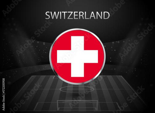 Eps 10 Vector Switzerland Flag Button Isolated On Black And White Stadium Background Swiss National