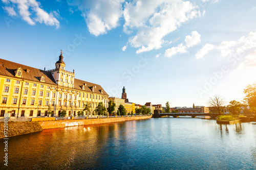 View of the ancient city Wroclaw. Location: famous place Odra river, Poland, Europe.