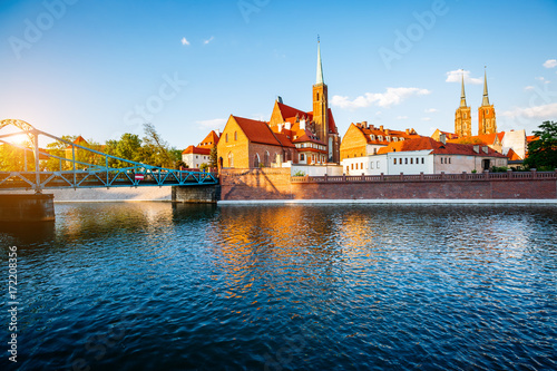 obraz dibond Ancient city Wroclaw on a sunny day. Location Cathedral of St. John the Baptist, Poland, Europe.