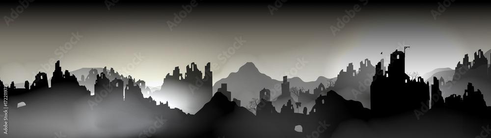 Fototapeta Destroyed city Panorama, Buildings in Ruin - Vector Illustration.