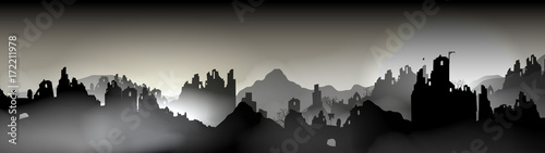 Fotografia Destroyed city Panorama, Buildings in Ruin - Vector Illustration.