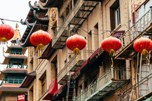 Chinese Lanterns And Fire Escape Stairs At Background