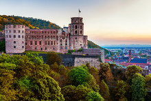 Heidelberg Town With The Famous Old Bridge And Heidelberg Castle, Heidelberg, Germany