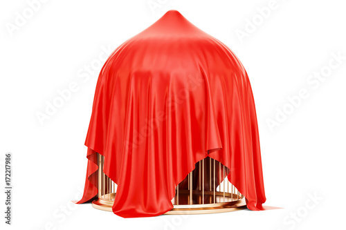 Foto Golden bird cage covered red cloth, 3D rendering