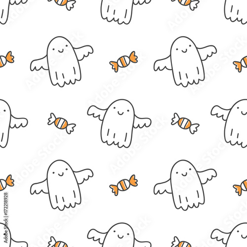 Cotton fabric halloween seamless pattern