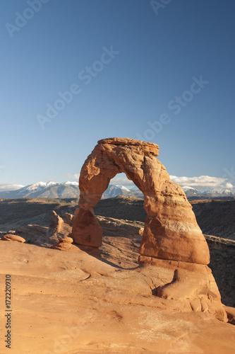 View of the iconic Delicate Arch in Moab Utah slick rock strata