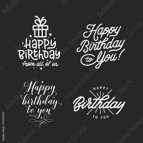 Happy birthday hand lettering compositions set Wallpaper Mural
