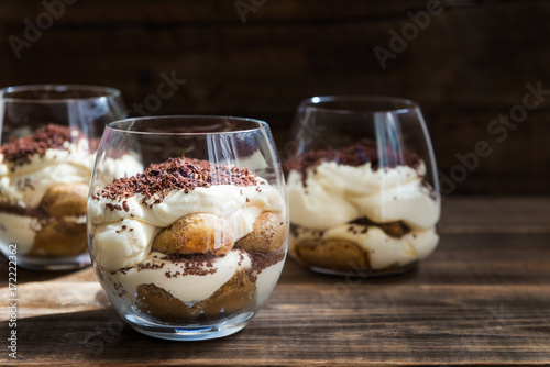 Poster Dessert Traditional Italian dessert Tiramisu in a Glass Jar
