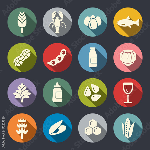 Allergens icons Canvas Print