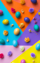 Colorful Easter Eggs On Colorf...
