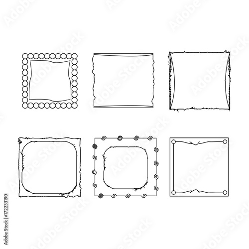 Fototapety, obrazy: Simple doodle, sketch square vector frames