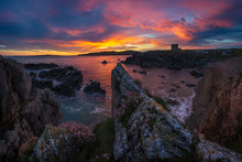 Landscape Of County Donegal In Ireland At The Morning With The Castle