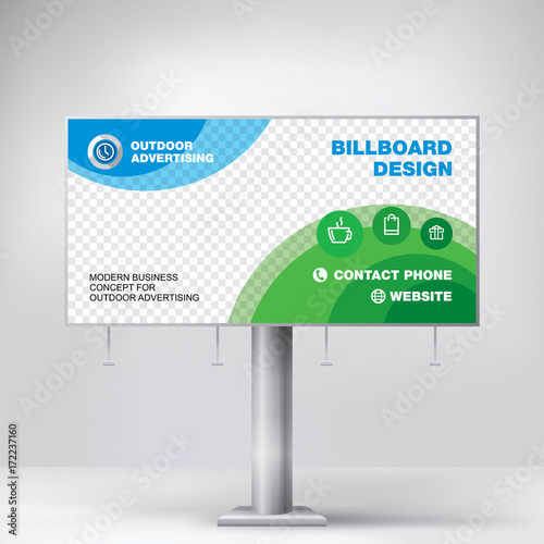 Billboard Design Graphic Template For Placement Advertising Ready Layout Banner Photos And Text Blue Green Background Vector