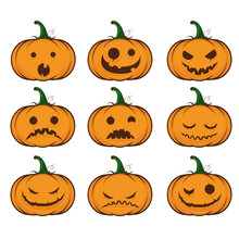 Set Pumpkins For Halloween. Fu...