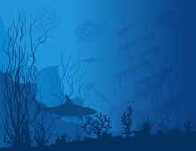 Blue Underwater Landscape With Sunken Ship, Sharks And See Weeds. Vector Hand Drawn Illustration.
