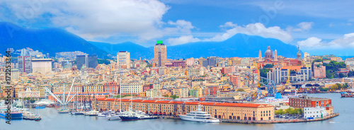 Panoramic view port of Genoa in a summer day, Italy Obraz na płótnie