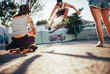 Skater Performing Ollie In Fro...