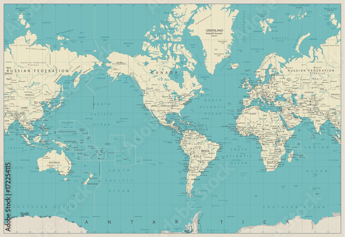 Plakaty kula ziemska world-map-americas-centered-map