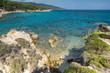 Panoramic view of Orange Beach Kavourotripes at Sithonia peninsula, Chalkidiki, Central Macedonia, Greece