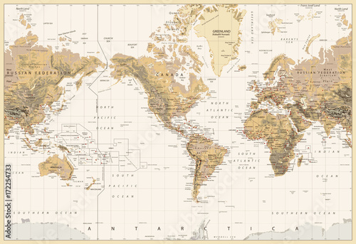 vintage-physical-world-map-america-centered-colors-of-brown