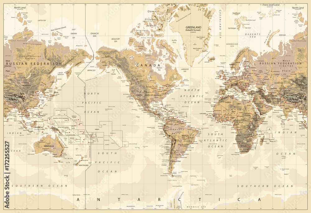 Fototapety, obrazy: Vintage Physical World Map-America Centered-Colors of Brown