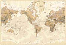 Vintage Physical World Map-America Centered-Colors Of Brown
