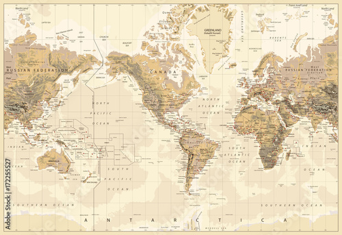 Plakaty kula ziemska vintage-physical-world-map-america-centered-colors-of-brown