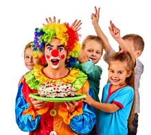 Birthday Children Clown Eating...