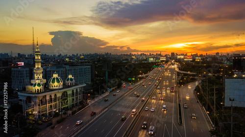 Fotobehang Midden Oosten mosque with road in twilight time