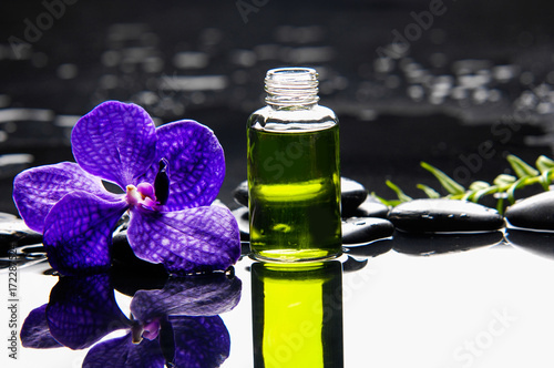 Poster Spa Purple orchid with fern and stones ,oil in glass on wet background