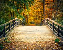 Wooden Bridge In The Autumn Fo...