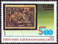 1944 10c. Discovery Of Tobacco Stamp (Cuba 1988)