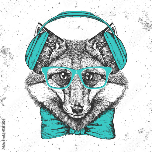 Foto auf Gartenposter Handgezeichnete Skizze der Tiere Hipster animal fox. Hand drawing Muzzle of animal fox