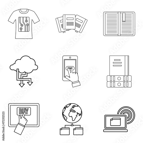 Copying document icons set, outline style Tableau sur Toile