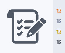 Pencil & List - Carbon Icons. A Professional, Pixel-aligned Icon Designed On A 32 X 32 Pixel Grid And Redesigned On A 16 X 16 Pixel Grid For Very Small Sizes.