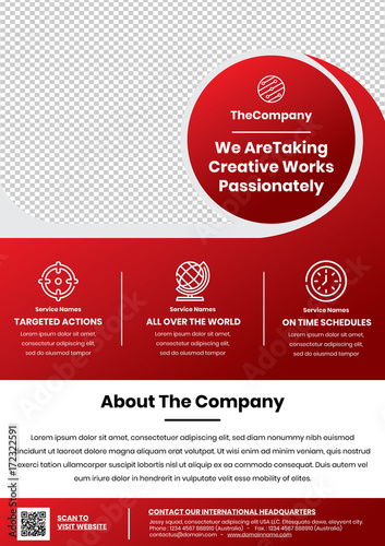 A4 Flyer Template Circle Header For Professional Agency Or