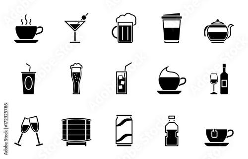 Getränke Iconset - Schwarz – kaufen Sie diese Vektorgrafik und ...