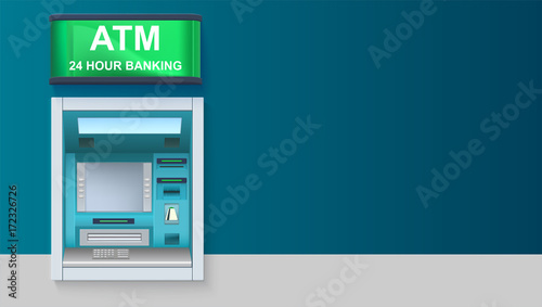 ATM - Automated teller machine with green lightbox, 24 hour banking Canvas Print
