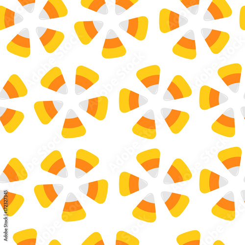 Candy Corn Seamless Pattern Round Flower Shape Wring Paper Textile Template Print Flat Design White Background