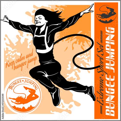 Obraz na plátne Bungee jumping. Vector set - badges and monochrome illustration.