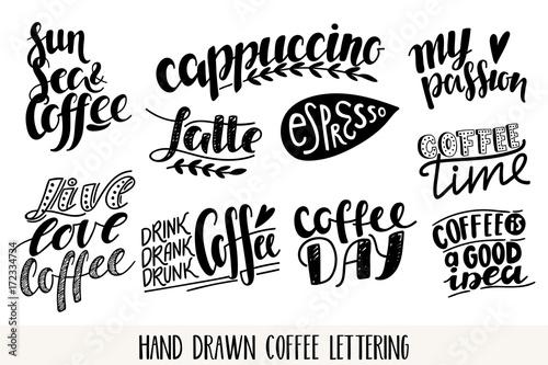 Obraz na plátně  Coffee vector lettering icons set