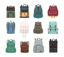 Large Collection Of Fashionable Backpacks Or Rucksacks. Modern Casual And Touristic Accessories Of Different Types And Colors Isolated On White Background. Colorful Flat Vector Illustration