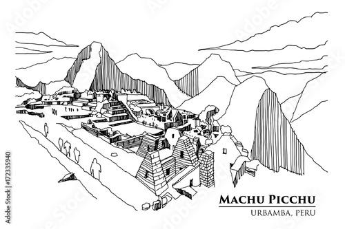 Photo  Perspective of Machu Picchu, Urbamba province, PERU, vector illustration sketch design
