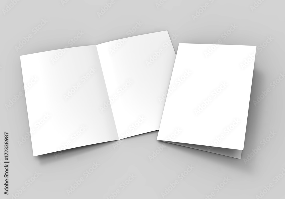 Fototapety, obrazy: A3 half-fold brochure blank white template for mock up and presentation design. 3d illustration.