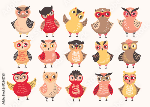 Keuken foto achterwand Uilen cartoon Collection of cute colorful owls decorated with different ornaments. Set of funny cartoon forest birds standing in various position isolated on white background. Colored vector illustration.