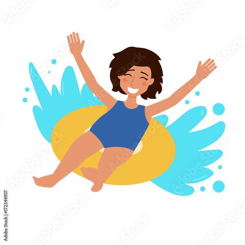 Fototapeta Girl ride the water slide. obraz na płótnie