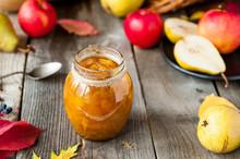 Close Up Fruit Jam And Fresh Y...