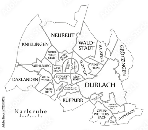 Karlsruhe Map Of Germany.Modern City Map Karlsruhe City Of Germany With Boroughs And Titles